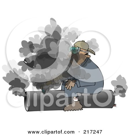 Royalty-Free (RF) Clipart Illustration of a Caucasian Worker Man Sitting On And Cutting A Pipe by djart