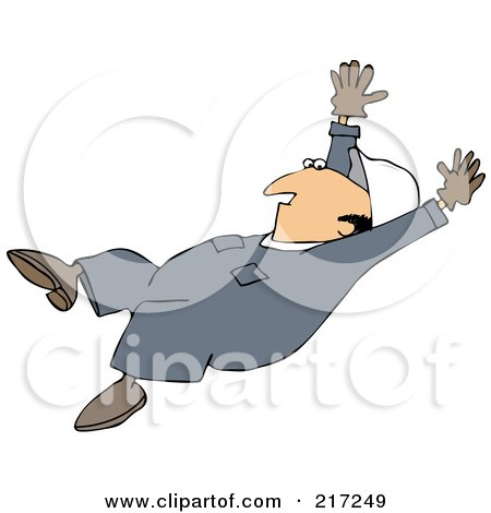 Royalty-Free (RF) Clipart Illustration of a Caucasian Worker Man Slipping And Falling Backwards by djart