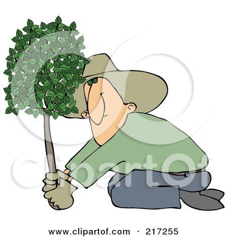 Royalty-Free (RF) Clipart Illustration of a Kneeling Man Planting A Tree by djart