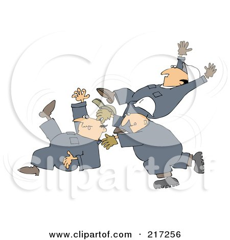 Royalty-Free (RF) Clipart Illustration of Three Caucasian Worker Men Slipping And Falling by djart