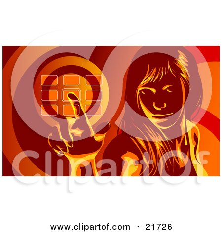 Clipart Picture Illustration of a Woman Glancing Up And Entering Her Security Code Into A Keypad, In Red Tones by Tonis Pan