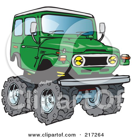 Royalty-Free (RF) Clipart Illustration of a Green 4x4 Cruiser Vehicle With Big Tires by Dennis Holmes Designs