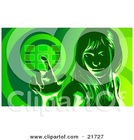 Clipart Picture Illustration of a Woman Glancing Up And Entering Her Security Code Into A Keypad, In Green Tones by Tonis Pan