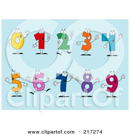 Royalty-Free (RF) Clipart Illustration of a Digital Collage Of Colorful Number Characters On A Blue Background by Hit Toon