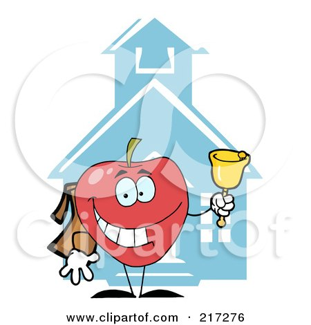 Royalty-Free (RF) Clipart Illustration of a Red Apple Ringing A Bell By A School House by Hit Toon