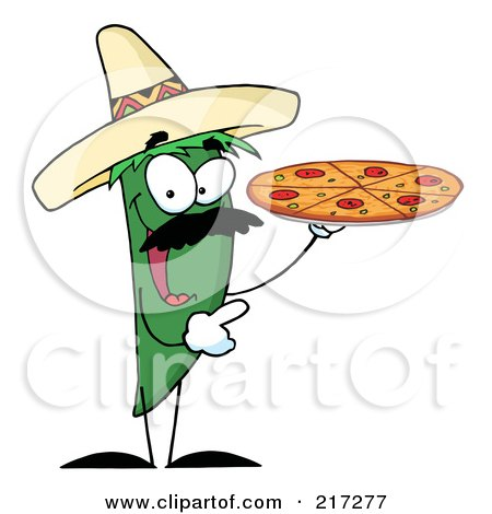 Royalty-Free (RF) Clipart Illustration of a Green Pepper Character Holding A Pizza by Hit Toon