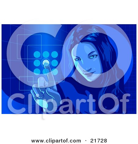 Clipart Picture Illustration of a Young Woman Entering Her Security Code Into A Keypad, Blue Tones by Tonis Pan