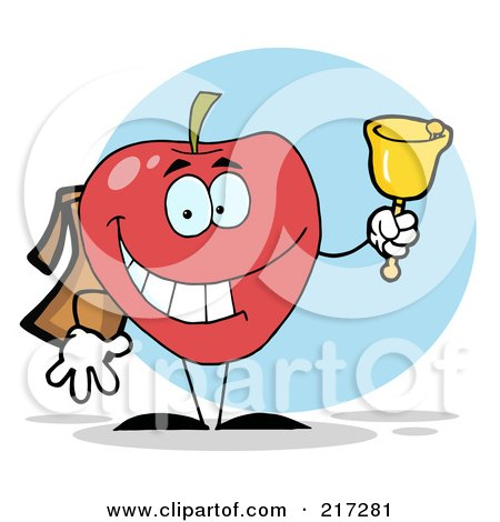 Royalty-Free (RF) Clipart Illustration of a Happy School Apple Ringing A Bell by Hit Toon