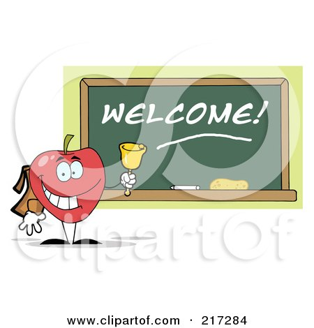 Royalty-Free (RF) Clipart Illustration of a Red School Apple Ringing A Bell By A Welcome Chalk Board by Hit Toon