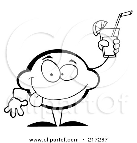 Royalty-Free (RF) Clipart Illustration of an Outlined Lemon Character Holding Up A Glas Of Lemonade by Hit Toon