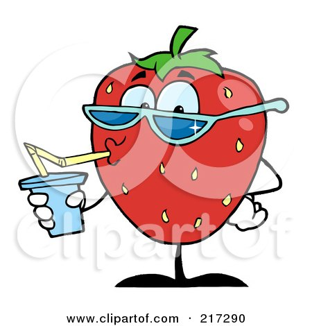 Royalty-Free (RF) Clipart Illustration of a Thirsty Strawberry Drinking Juice And Wearing Shades by Hit Toon