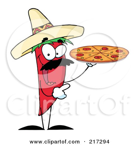 Royalty-Free (RF) Clipart Illustration of a Red Pepper Character Holding A Pizza by Hit Toon