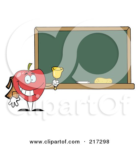 Royalty-Free (RF) Clipart Illustration of a School Apple Ringing A Bell By A Chalk Board by Hit Toon