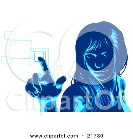 Clipart Picture Illustration of a Blue Woman Glancing Up And Entering Her Security Code Into A Keypad, Over White by Tonis Pan