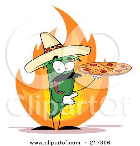 Royalty-Free (RF) Clipart Illustration of a Green Pepper Character Holding A Pizza Over Flames by Hit Toon