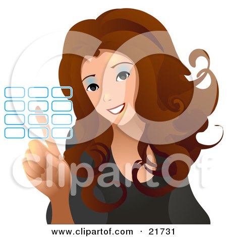 Clipart Picture Illustration of a Brunette Haired Woman Entering Her Security Code Into A Keypad, On A White Background by Tonis Pan
