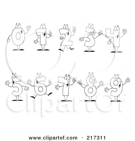 Royalty-Free (RF) Clipart Illustration of a Digital Collage Of Outlined Number Characters by Hit Toon