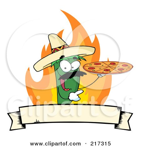 Royalty-Free (RF) Clipart Illustration of a Green Pepper Character Holding A Pizza Over Flames And A Banner by Hit Toon
