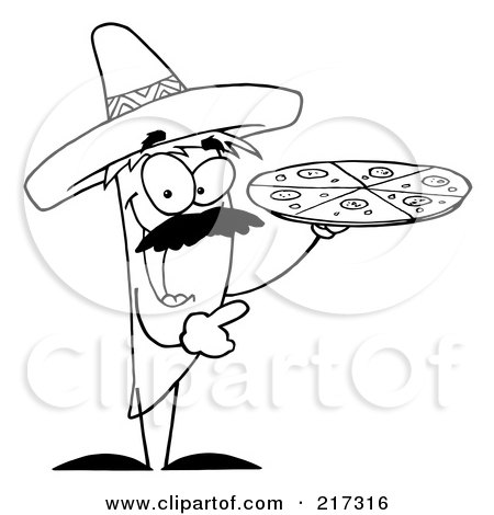 Royalty-Free (RF) Clipart Illustration of an Outlined Pepper Character Holding A Pizza by Hit Toon