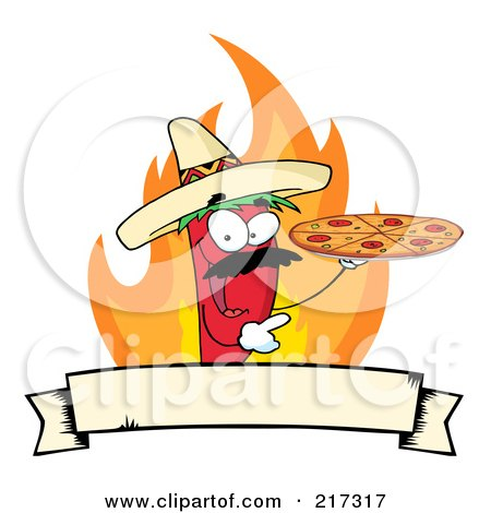 Royalty-Free (RF) Clipart Illustration of a Red Pepper Character Holding A Pizza Over Flames And A Banner by Hit Toon