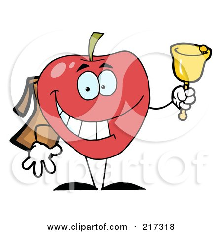 Royalty-Free (RF) Clipart Illustration of a Happy Red School Apple Ringing A Bell by Hit Toon