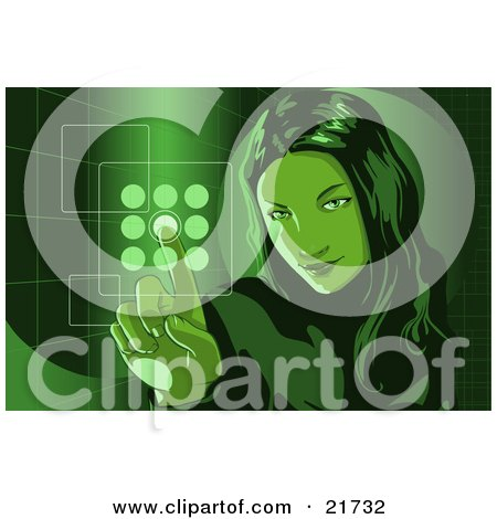 Clipart Picture Illustration of a Young Woman Entering Her Security Code Into A Keypad, Green Tones by Tonis Pan