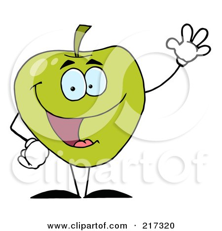 Royalty-Free (RF) Clipart Illustration of a Friendly Green Apple Character Waving by Hit Toon