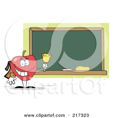 Royalty-Free (RF) Clipart Illustration of a Red School Apple Ringing A Bell By A Chalk Board by Hit Toon