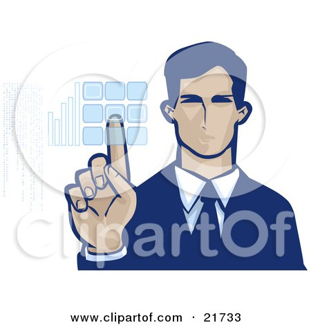 Clipart Picture Illustration of a Corporate Businessman Entering Her Security Code Into A Keypad, On A White Background by Tonis Pan