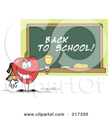 Royalty-Free (RF) Clipart Illustration of a Red School Apple Ringing A Bell By A Back To School Chalk Board by Hit Toon
