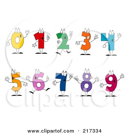 Royalty-Free (RF) Clipart Illustration of a Digital Collage Of Colorful Number Characters by Hit Toon