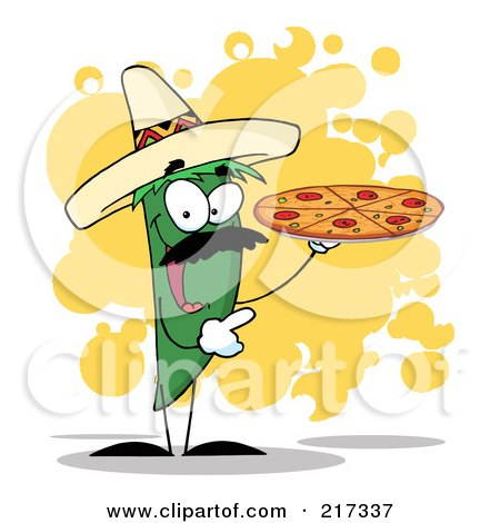 Royalty-Free (RF) Clipart Illustration of a Green Pepper Character Holding A Pizza Over Orange Splatters by Hit Toon