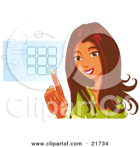 Clipart Picture Illustration of a Beautiful Brunette Woman Smiling And Entering Her Security Code Into A Keypad, On A White Background by Tonis Pan