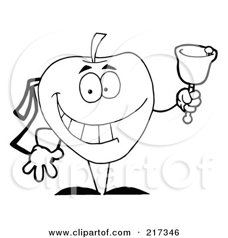 Royalty-Free (RF) Clipart Illustration of an Outlind School Apple Ringing A Bell by Hit Toon