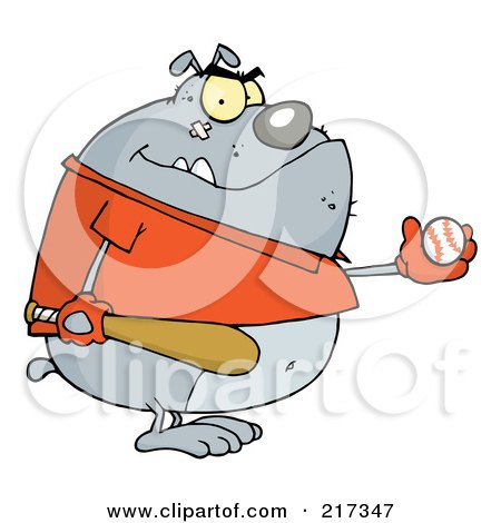 Royalty-Free (RF) Clipart Illustration of a Fat Bulldog Wearing A Shirt And Playing Baseball by Hit Toon