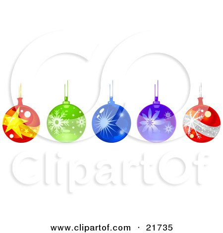 Clipart Picture Illustration of a Row Of Hanging Glass Christmas Ornament Baubles by Tonis Pan