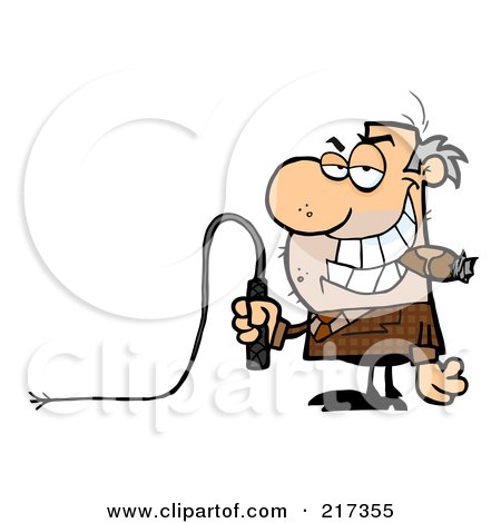 Royalty-Free (RF) Clipart Illustration of a Scruffy Boss Holding A Whip In His Hand And Smoking A Cigar by Hit Toon
