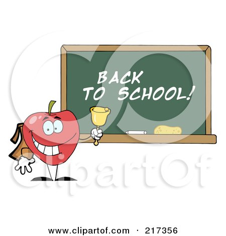 Royalty-Free (RF) Clipart Illustration of a School Apple Ringing A Bell By A Back To School Chalk Board by Hit Toon
