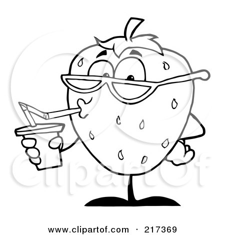 Royalty-Free (RF) Clipart Illustration of an Outlined Thirsty Strawberry Drinking Juice And Wearing Shades by Hit Toon