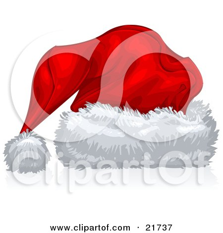 Clipart Picture Illustration of a Red Velvet Santa Hat With Fluffy White Trim, Over White by Tonis Pan