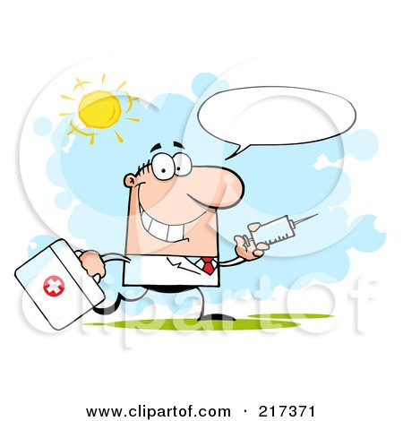 Royalty-Free (RF) Clipart Illustration of a Running Male Doctor With A Syringe And Word Balloon by Hit Toon