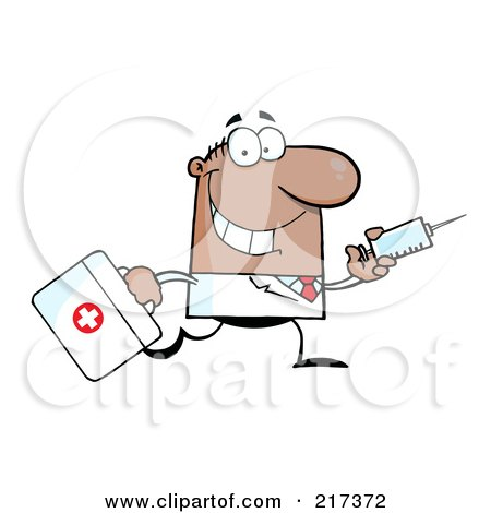 Royalty-Free (RF) Clipart Illustration of a Running Male Black Doctor With A Syringe by Hit Toon