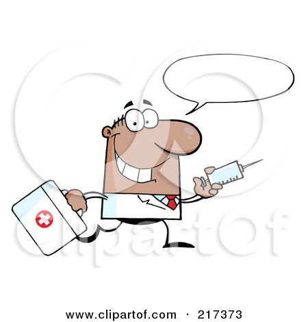 Royalty-Free (RF) Clipart Illustration of a Running Male Black Doctor With A Syringe And Word Balloon by Hit Toon
