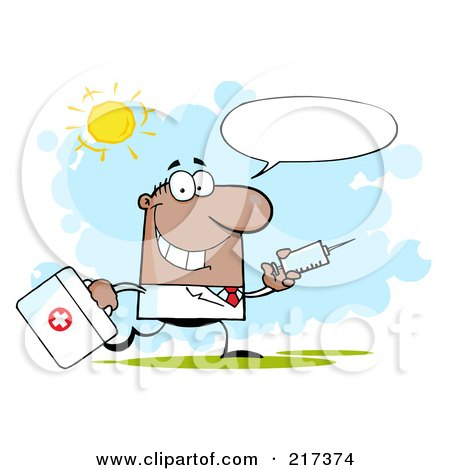 Royalty-Free (RF) Clipart Illustration of a Running Male Black Doctor With A Syringe And Text Balloon by Hit Toon