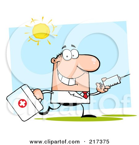 Royalty-Free (RF) Clipart Illustration of a Running Caucasian Male Doctor With A Syringe by Hit Toon