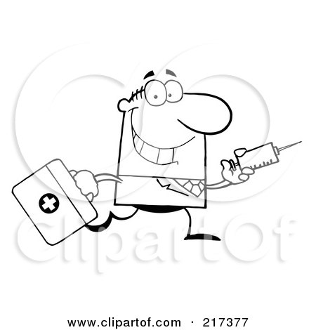 Royalty-Free (RF) Clipart Illustration of an Outlined Running Male Doctor With A Syringe by Hit Toon