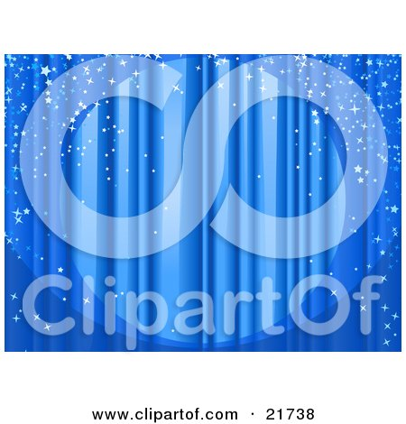 Clipart Picture Illustration of a Spotlight Shining On Closed Blue Stage Curtains With Sparkling Confetti Falling Over The Stage by Tonis Pan