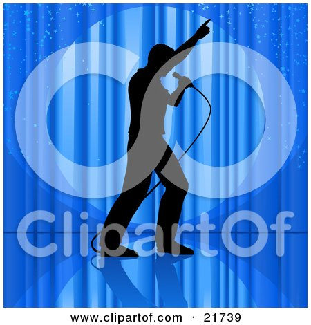 Clipart Picture Illustration of a Silhouetted Man Singing Into A Microphone And Pointing Upwards While Performing On A Stage In Front Of Blue Curtains by Tonis Pan