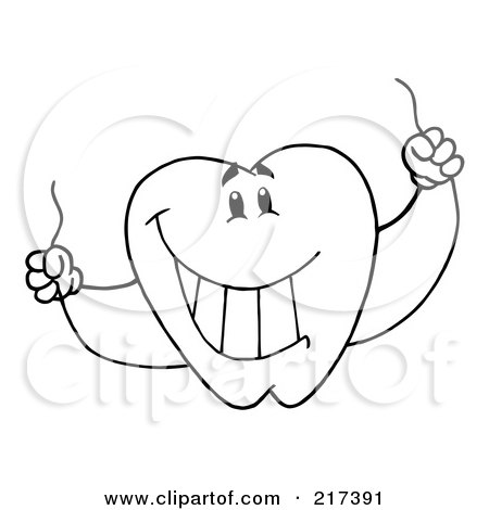 Royalty-Free (RF) Clipart Illustration of an Outlined Dental Tooth Character Holding Floss by Hit Toon
