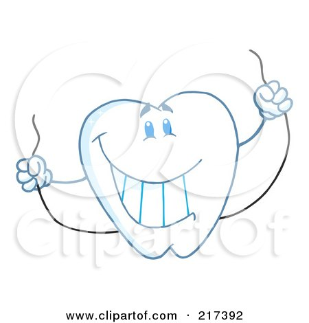 Royalty-Free (RF) Clipart Illustration of a Dental Tooth Character Holding Floss by Hit Toon